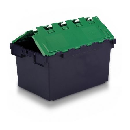 Heavy Duty Tote Box, Attached Lid Container, 80L