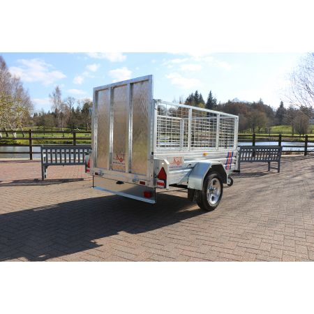 """Kirby Trailers 750kg Caged & Ramped Heavy Duty Galvanised Box Utility Trailer 7x5"""""""